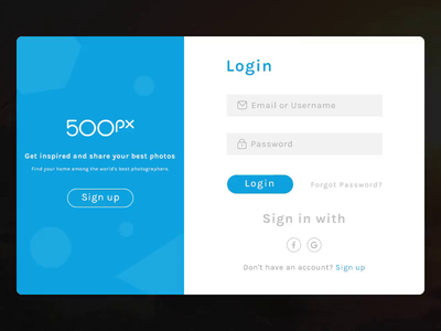 500 px Login Page Concept Micro Interaction