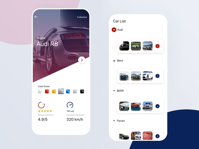 Premium Car Booking App Design in Adobe XD by Riju Rajan on