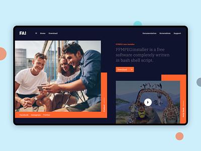 FAI - Homepage web page clean design dribbble typogaphy card uiux split content treands latest simple branding web web design