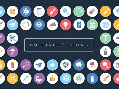 60 Circle icons design flat illustration icons