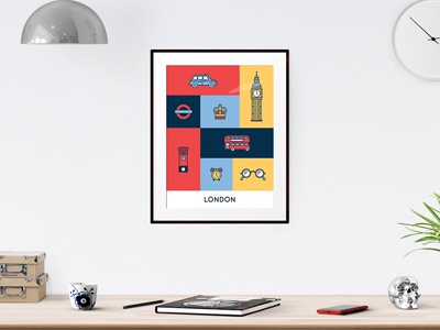 London Icon Set poster vector design flat london icon