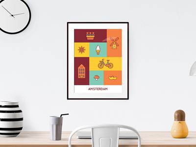 Amsterdam Icon Set poster vector design flat amsterdam icon