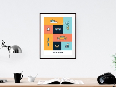 NYC Icon Set poster vector design flat nyc new york icon