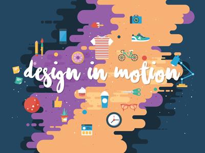 Design In Motion color vector flat design illustration