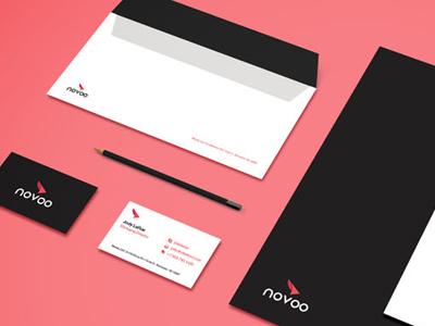 Novoo logo branding design stationary