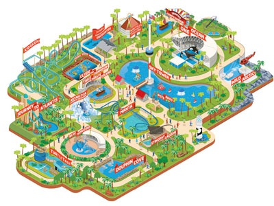 Sea World Orlando isometric sea world radio map maps theme 3d park rollercoaster whale fish water show guide
