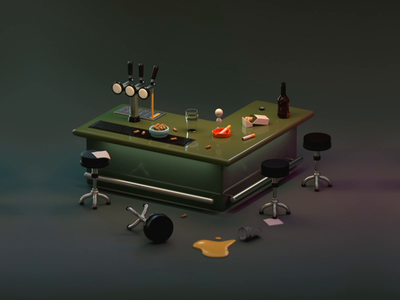 Miss the pub m8 pub beer bar motion design c4d radio cgi 3d illustration animation gif