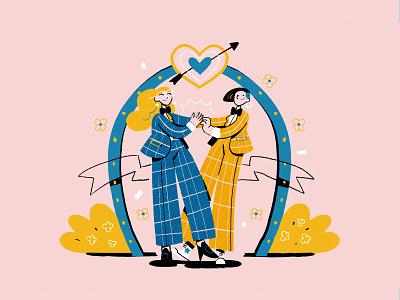Vegas wedding lbtq radio character illustration