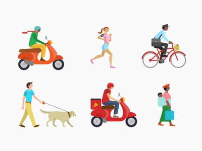 People people icons running bicycle postman illustration bikes pizza iconography humans