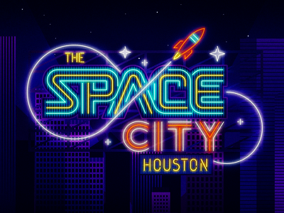 Houston - Space City typography houston city space neon light stars rocket cityscape night