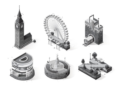 London typography london isometric britain england buckingham palace fountain big ben tube park eye