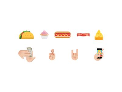 Emoticons taco cupcake hotdog bacon cheese emoticon makeitrain selfie emoji icons