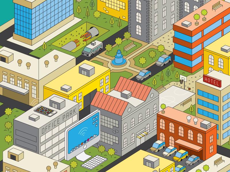 Atlanta Magazine isometric lines cityscene city wireless cars office park