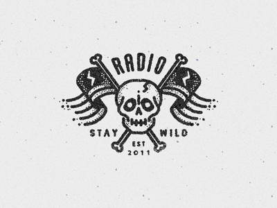 S T A Y  W I L D logo tatto icon skull handdrawn lettering radio flags type