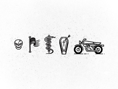 icons too icons skull usa flag snake coffin tattoo bike motorbike caferacer icons