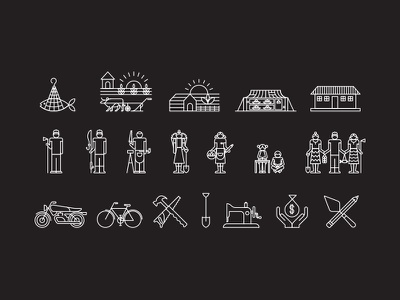 Vision Fund Icons saw hammer bike motorbike bicycle working labour cow icon