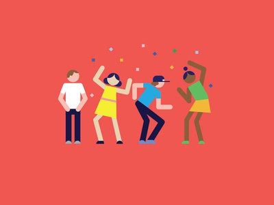 Party Time dancing party colours confetti icons characters