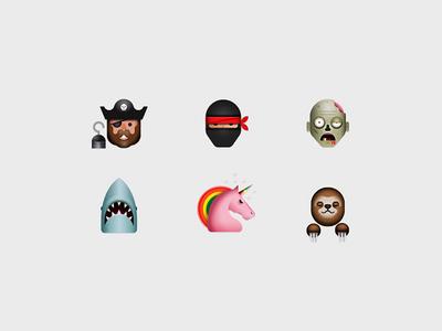 Emoji ji ji phone ios sloth unicorn jaws zombie oreo ninja pirate emoticon emoji
