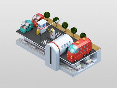 City of Tomorrow  parking car bus underground transport city cinema4d 3d