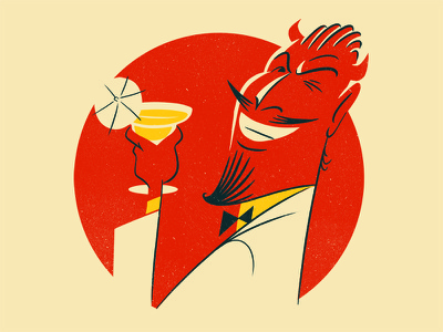 The Devil is in the detail ;) character wink cheers cocktail devil texture illustration
