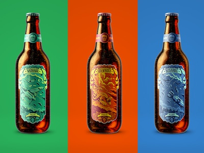 Warhawk, Blitzkrieg and Sidewinder crafter drinking beer bombs planes snakes detail photoshop illustration packaging