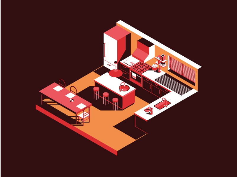 Speak up vector shadows oven chair table kitchen colour isometric