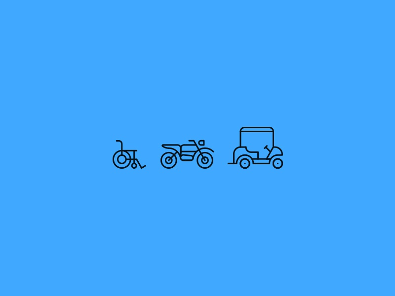 A to B golfcart bike motorbike wheelchair icon line lines transport iconography icons