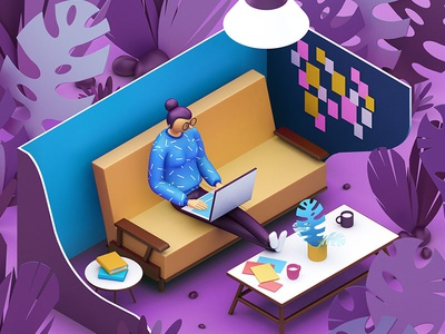 Scientific America Mind posit office papers jungle characters laptop working desk illustration c4d 3d