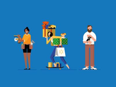 Walmart Holiday  christmas xmas holiday presents pets dog skateboard illustration diy shopping retail character