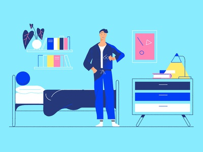 Back To School bright desk bed pyjamas man bedroom illustration character