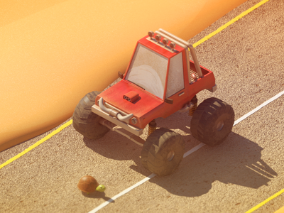 Somewhere on a desert highway rigged rig dynamic animation truck monstertruck car texture shading c4d 3d