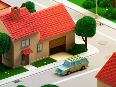 Neighbourhood motor mom grass trees illustration 3d vray c4d cgi neighbourhood car