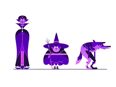 Unused Characters dracula witch halloween werewolf cartoon character design character art character