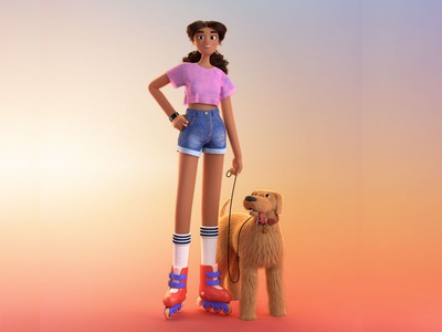 Roller Bae maya clean color walk the dog summer exercise rollerblade girl animal dog 3d animal 3d character 3d character cgi