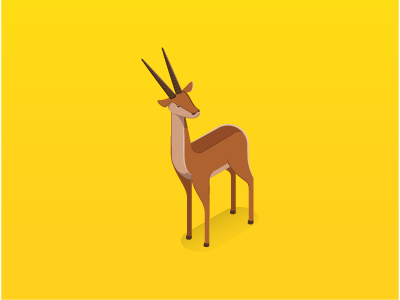 Springbok springbok animals radio wild spot dimension vector illustration 3d isometric