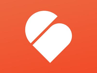 Urbia App Icon think moto orange is the new black minimalistic simple icon app heart family urbia branding logo