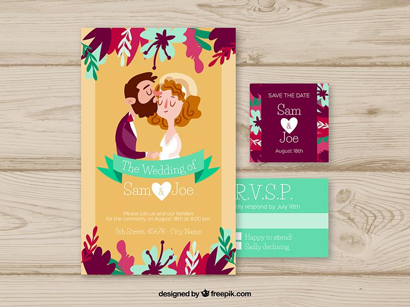 Wedding invitation by stephanie leidinger dribbble httpsfreepikfree vectorwedding invitation with cute couples2688135m stopboris Choice Image