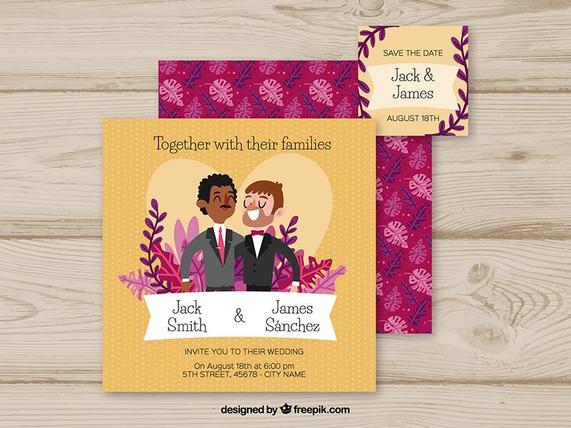 Wedding invitation by stephanie leidinger dribbble httpsfreepikfree vectorwedding invitation with cute couples2688141m stopboris Choice Image