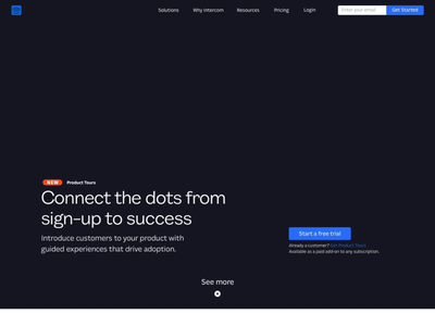 Intercom's Product Tours animation landing page ui onboarding