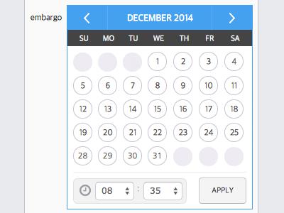 Calendar design for jQuery datetime picker by miriya on Dribbble