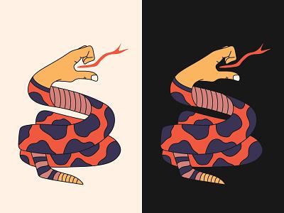 Indecisive Rattler illustration hand snake print