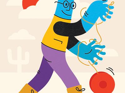 Yo-Yo yoyo print wonky playful illustration