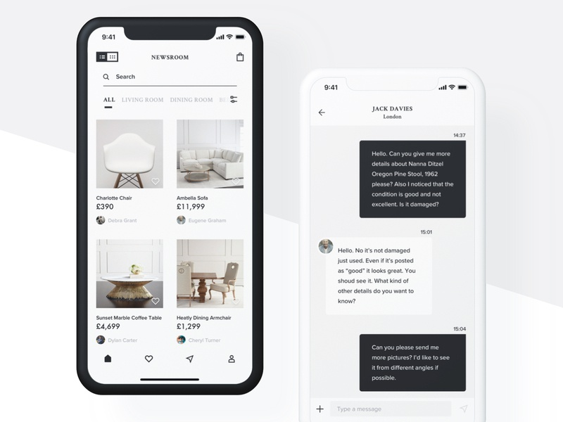 Luxury furniture app chat messages minimal luxury furniture app listing white minimalistic iphone x fresh mobile design ios clean app ui