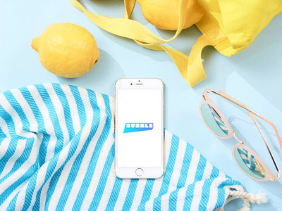 Bubble at the Beach. app design ux ui branding photography flatlay styling mockup app