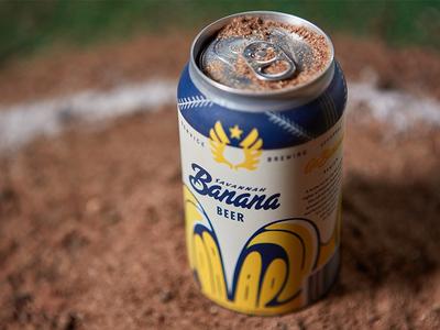 Bananas, Beer, & Baseball beer can can design bananas banana baseball beer