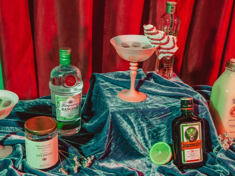 Naughty or Nice Cocktail product photography set design still life focus lab styling photography