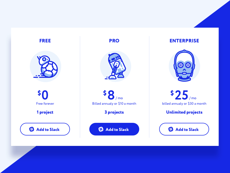 Pricing Table sketch character illustration star wars icons