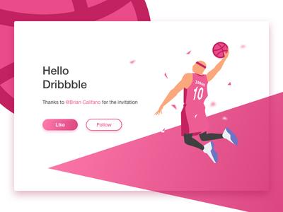 Hello Dribbble hello dribbble player basketball debut dunk