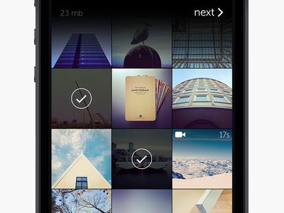 WeTransfer grid wetransfer iphone grid gradient black select photos photo videos video