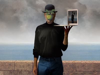 Son of Man - Steve Jobs steve jobs son of man man rene magritte apple turtleneck hat jeans sky tribute
